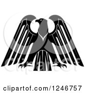 Clipart Of A Black And White Heraldic Eagle 15 Royalty Free Vector Illustration