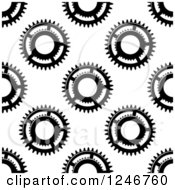Clipart Of A Seamless Pattern Background Of Black And White Gears Royalty Free Vector Illustration