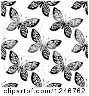 Clipart Of A Seamless Black And White Butterfly Background Pattern 6 Royalty Free Vector Illustration