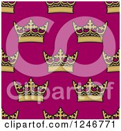 Clipart Of A Seamless Background Pattern Of Gold Crowns On Pink Royalty Free Vector Illustration