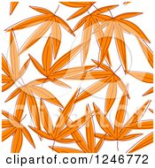 Clipart Of A Seamless Orange Leaves Background Pattern Royalty Free Vector Illustration