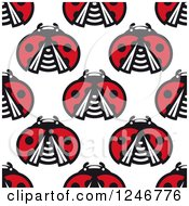 Clipart Of A Seamless Pattern Background Of Ladybugs 2 Royalty Free Vector Illustration by Vector Tradition SM
