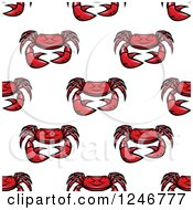 Clipart Of A Seamless Red Crab Background Pattern Royalty Free Vector Illustration