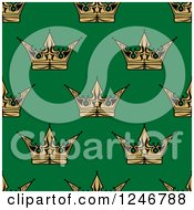 Clipart Of A Seamless Background Pattern Of Gold Crowns On Green Royalty Free Vector Illustration