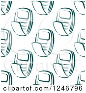 Clipart Of A Seamless Teal Flip Phone Background Pattern Royalty Free Vector Illustration
