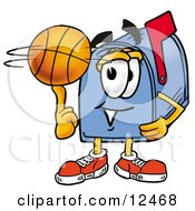 Blue Postal Mailbox Cartoon Character Spinning A Basketball On His Finger