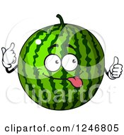 Clipart Of A Watermelon Character Royalty Free Vector Illustration