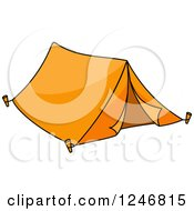 Clipart Of An Orange Tent Royalty Free Vector Illustration