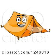 Clipart Of An Orange Tent Character Royalty Free Vector Illustration