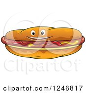 Clipart Of A Hot Dog With Mustard And Ketchup Royalty Free Vector Illustration
