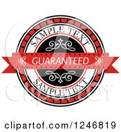 Clipart Of A Guaranteed Label With Sample Text Royalty Free Vector Illustration