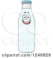Clipart Of A Happy Milk Bottle Character Royalty Free Vector Illustration