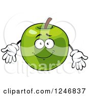 Clipart Of A Green Apple Character Royalty Free Vector Illustration