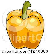 Clipart Of An Orange Bell Pepper Royalty Free Vector Illustration