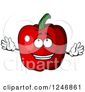 Clipart Of A Red Bell Pepper Character Royalty Free Vector Illustration