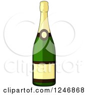 Clipart Of A Champagne Bottle Royalty Free Vector Illustration