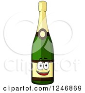 Clipart Of A Champagne Bottle Character Royalty Free Vector Illustration