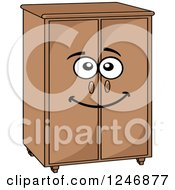 Clipart Of A Cabinet Character Royalty Free Vector Illustration