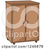Clipart Of A Cabinet Royalty Free Vector Illustration