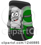 Clipart Of A Happy Backpack Character Royalty Free Vector Illustration