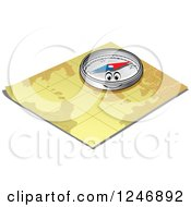 Clipart Of A Happy Compass On A Map Royalty Free Vector Illustration