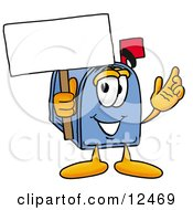 Clipart Picture Of A Blue Postal Mailbox Cartoon Character Holding A Blank Sign