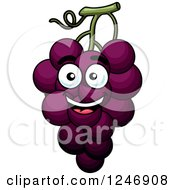 Clipart Of A Purple Grapes Character Royalty Free Vector Illustration
