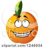 Clipart Of An Apricot Character Royalty Free Vector Illustration