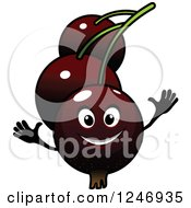 Clipart Of A Happy Currants Character Royalty Free Vector Illustration