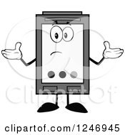 Clipart Of A Confused Grayscale Ink Cartridge Character Mascot Shrugging Royalty Free Vector Illustration