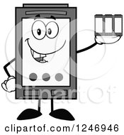 Clipart Of A Grayscale Ink Cartridge Character Mascot Holding Toner Royalty Free Vector Illustration by Hit Toon