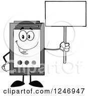 Clipart Of A Grayscale Ink Cartridge Character Mascot Holding Up A Blank Sign Royalty Free Vector Illustration
