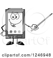 Clipart Of A Grayscale Ink Cartridge Character Mascot Using A Pointer Stick Royalty Free Vector Illustration