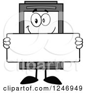 Clipart Of A Grayscale Ink Cartridge Character Mascot Holding A Blank Sign Royalty Free Vector Illustration