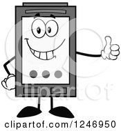 Clipart Of A Grayscale Ink Cartridge Character Mascot Holding A Thumb Up Royalty Free Vector Illustration