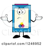 Clipart Of A Confused Color Ink Cartridge Character Mascot Shrugging Royalty Free Vector Illustration