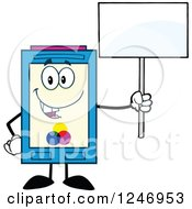Clipart Of A Color Ink Cartridge Character Mascot Holding Up A Blank Sign Royalty Free Vector Illustration
