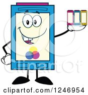 Clipart Of A Color Ink Cartridge Character Mascot Holding Toner Royalty Free Vector Illustration by Hit Toon