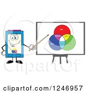 Clipart Of A Color Ink Cartridge Character Mascot Presenting A Board Of Colors Royalty Free Vector Illustration