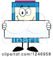 Clipart Of A Color Ink Cartridge Character Mascot Holding A Blank Sign Royalty Free Vector Illustration
