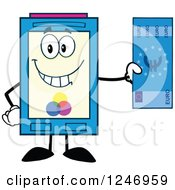 Clipart Of A Color Ink Cartridge Character Mascot Holding A Euro Bill Royalty Free Vector Illustration