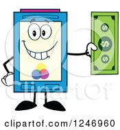 Clipart Of A Color Ink Cartridge Character Mascot Holding A Dollar Bill Royalty Free Vector Illustration