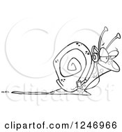 Clipart Of A Black And White Happy Snail Listening To Music Royalty Free Vector Illustration by toonaday