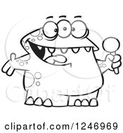 Clipart Of A Black And White Happy Monster Singing Karaoke Or Hosting Royalty Free Vector Illustration by toonaday