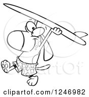Clipart Of A Black And White Cartoon Surfer Dog Walking With His Board Over His Head Royalty Free Vector Illustration