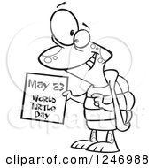Clipart Of A Black And White Happy Tortoise Holding A May 23 World Turtle Day Calendar Royalty Free Vector Illustration