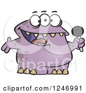 Clipart Of A Happy Purple Monster Singing Karaoke Or Hosting Royalty Free Vector Illustration