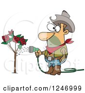 Clipart Of A Caucasian Cowboy Man Watering A Rose Bush Royalty Free Vector Illustration