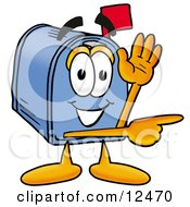 Blue Postal Mailbox Cartoon Character Waving And Pointing