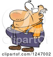 Cartoon Caucasian Senior Man In Suspenders